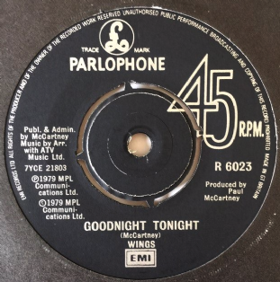"Wings - Goodnight Tonight (7"") (VG-EX/VG)"